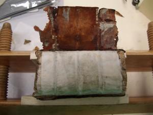 Tabularum während der Restaurierung