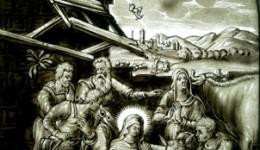 """Ansichtskarte der Glasscheibe """"Anbetung des Kindes durch die Hirten"""""""