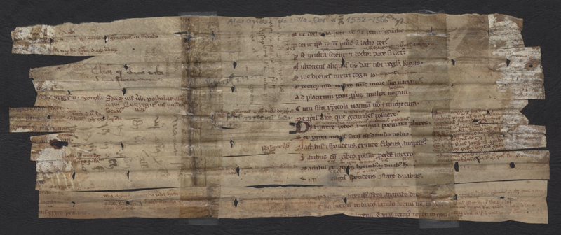 Handschriftliches Streifenfragment Doctrinale des Alexander de Villa Dei aus der Sammlung der Stadtbibliothek Trier