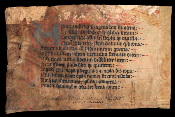 Fragmentenbox 6b, Fragment 01 – Grabinschrift (Stadtbibliothek Trier)